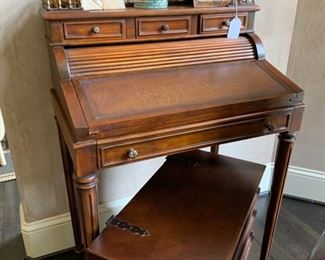 Secretary desk by Theodore Alexander (antique reproduction)                                                                                              Bookend end table that opens