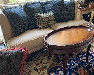 Hickory White Sofa with down cushions 63X37 39H.               Maitland Smith hand painted coffee table with removable tray