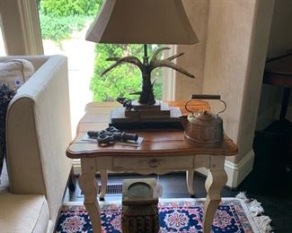 Century Town and Country end table 28 X 24 X 26.           Staghorn Lamp by Carolyn Kinder 32 H