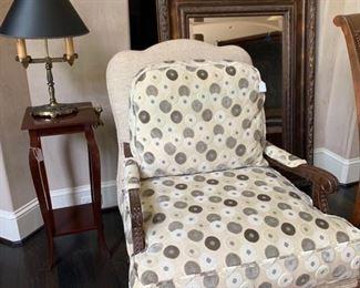 Vanguard Occasional Chair, Antique Lamp, Uttermost mirror