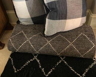 Black wool runner and custom down pillows