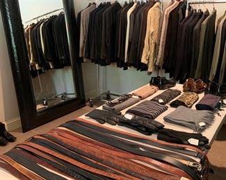 Awesome selection of men's clothing. Many designer labels. Leather belts, crocodile, snake, eel skin, lizard, Gucci, James Reid, Trafalgar.                                                           Hugo Boss, John Varvatos Armani, Banana Republic