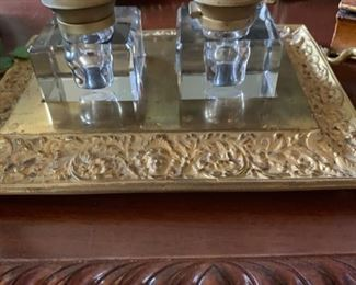 Antique Brass double inkwell