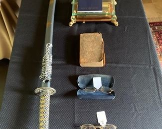 39 inch Samurai Sword, Rare vintage Reuge Sainte Croix Music Box 3 parts Allegro, Romance, Minuet, Antique Eyeglasses