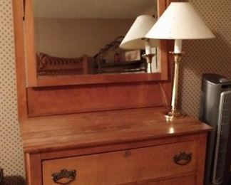 Vintage Victorian Eastlake Maple Bedroom Set, Three Drawer Dresser with attached Beveled Mirror Knapp Joints on drawers Circa 1860-1880