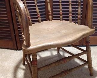 Victorian Oak Captain's Chair, Spindle Stick Barrel Decorated Late 1800's