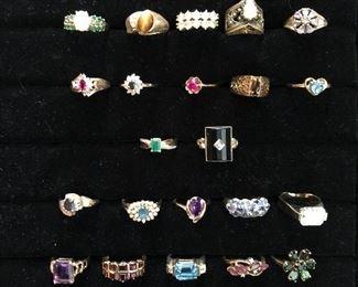 10 & 14 karat gold rings with gemstones