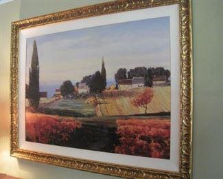 Large framed Tuscany scene.