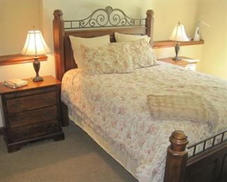 Queen size bedroom  set with Bed, all bedding, night stands and mirrored dresser