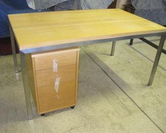 Desk and File Cabinet.