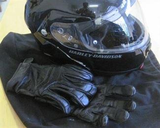Harley Davidson Helmet and Gloves, worn once.