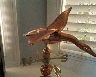 Copper duck weather vane decor