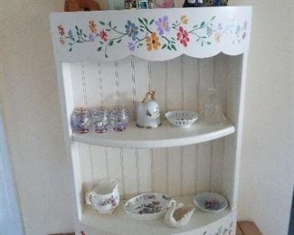 Hand paintes shelf and knic knacs
