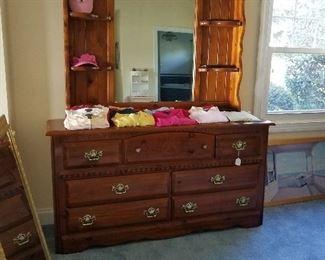 2 piece mirror top, dresser bottom pine