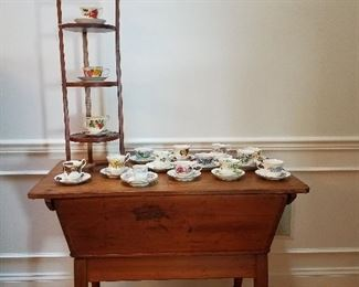 Primative Dough Table and Tea cups