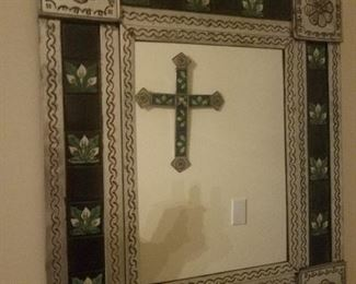 Mexican Tile and Metal Mirror