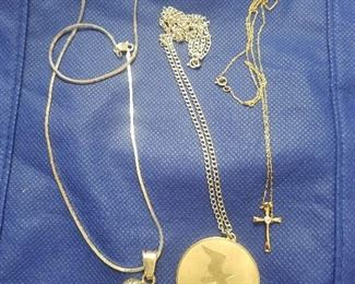 2 Sterling Silver necklaces and gold cross