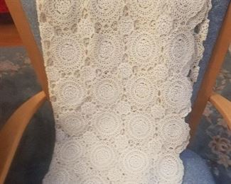 Lovely crocheted table cloth/ coverlet