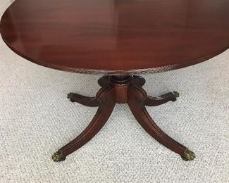 "Dining Table with brass claw feet 8 ft l x 46 w x 29 t ( as shown with 2 18"" leafs"