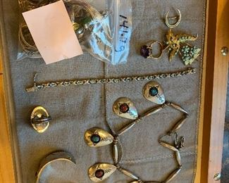 Sterling & Gold Jewelry - Native American shadow box necklace, bracelet and earrings.