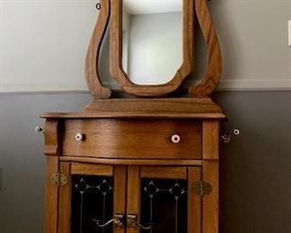 Solid oak dry sink cabinet