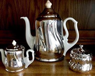 Vintage porcelain and silver coffee set from Germany