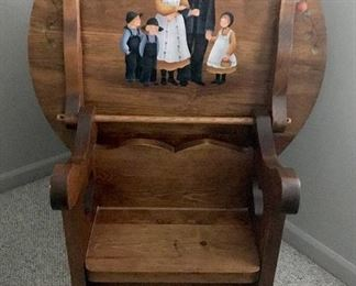 Hand painted (by homeowner) folding chair/table