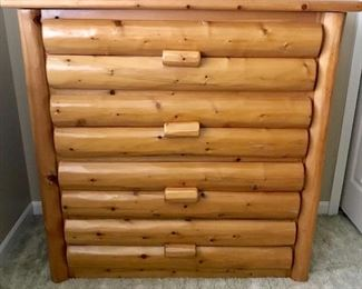 Log cabin style chest of drawers