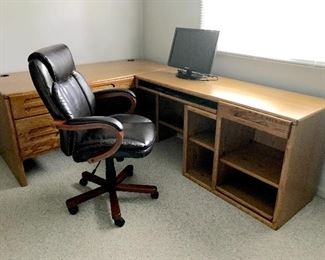 Large wooden desk, office chair