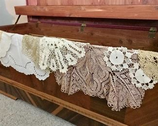 Silk and cotton crocheted doilies