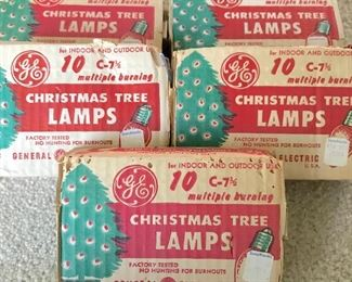 Vintage packaged outdoor Christmas light bulbs
