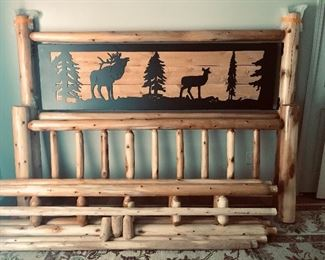 Northern rustic log cabin style king size bed