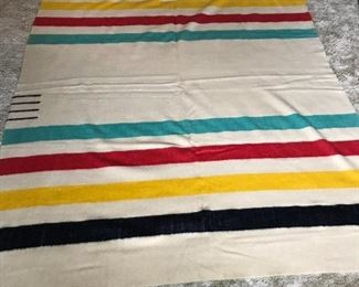 "Hudson Bay wool blanket - approximately 63"" x 84"""