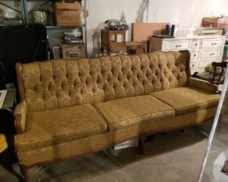 BEAUTIFUL - Large Wood / Golden Floral Fabric Vintage Couch