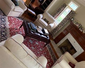 Custom oversized cream arm chairs, oriental rug, etc.