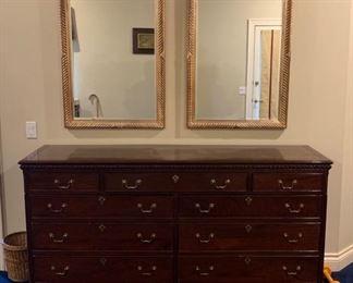 Solid Mahogany extra large dresser.