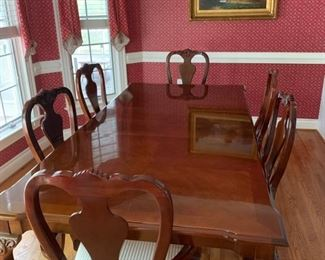 Thomasville Solid Cherry Dining table with two leaves and 8 chairs