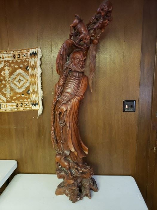 Over 5 foot tall hand carved hardwood sculpture of famous Chinese warrior Yunyang Zhang Fei. Museum quality piece.