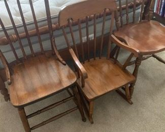 2 wooden side chairs and 1 child's rocker