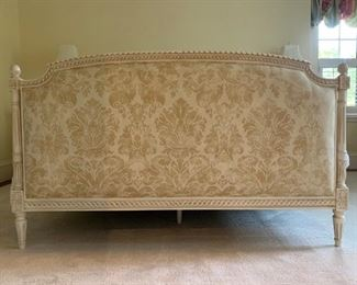 1. QUEEN Vintage French Bed Frame with Updated Damask Upholstered Headboard and Footboard, 88 x 64 x 55h