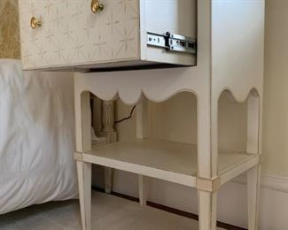 2. PAIR, Hand Painted White and Cream with Patterned Drawer Bedside tables, 22 x 15 x 33. HALF INCH paint chip on top of one, see pictures