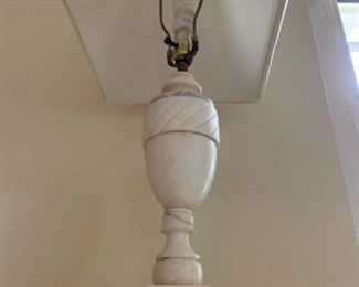 "3. Marble Lamp, urn on ball, 27""h"