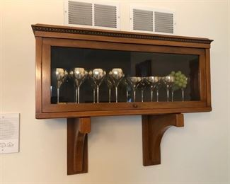 Barrister case with silver-plated goblets