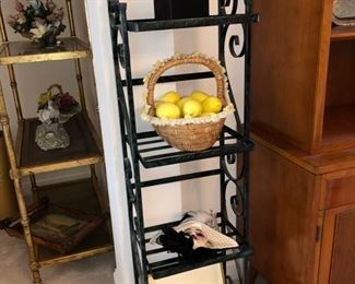 Small bakers rack and decor