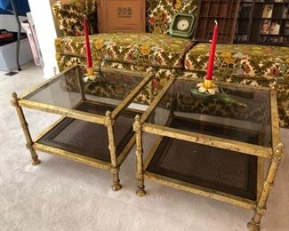 Italian style gilt metal occasional tables with glass inserts