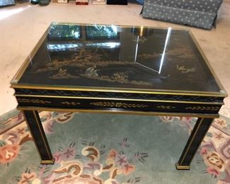 Oriental occasional table with glass top.....