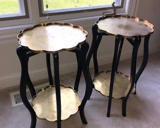 Brass/wood end tables