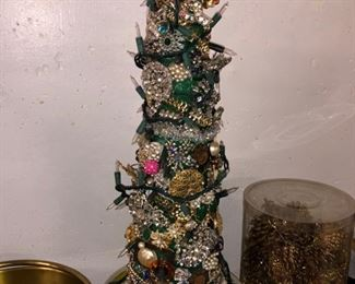 Gorgeous Christmas tree made from costume rhinestone jewelry!!
