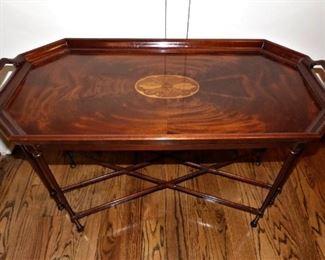 Inlaid work on mahogany tea table