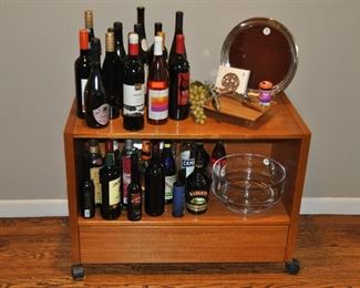 Wooden media/bar cabinet on wheels shown with more bar ware!